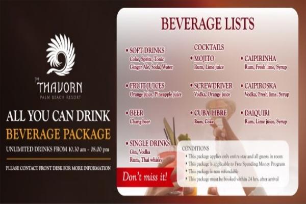 Free unlimited daily aloholic/non-aloholic drinks